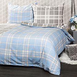 4Home Flanelové obliečky Modrá kocka, 140 x 200 cm, 70 x 90 cm
