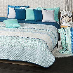 4Home Prehoz na posteľ Circles tyrkysová, 220 x 240 cm