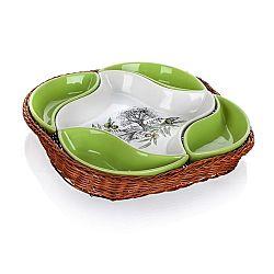 Banquet Olives 5-dielna servírovacia misa v košíku,