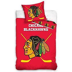 BedTex Bavlnené svietiace obliečky NHL Chicago Blackhawks, 140 x 200 cm, 70 x 90 cm