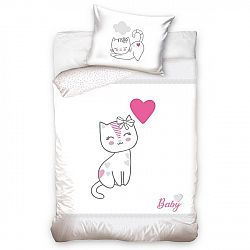 BedTex Detské bavlnené obliečky do postieľky Mačiatko sivá, 100 x 135 cm, 40 x 60 cm