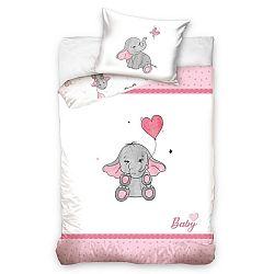 BedTex Detské bavlnené obliečky do postieľky Sloníča ružová, 100 x 135 cm, 40 x 60 cm