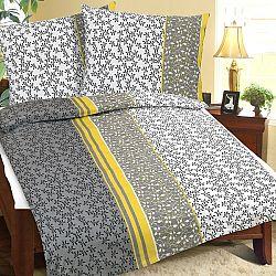 Bellatex Bavlnené obliečky Kvetinka sivá, 140 x 200 cm, 70 x 90 cm