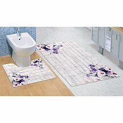 Bellatex Kúpeľňová sada 3D tlač Fialová kytica, 60 x 100 cm, 60 x 50 cm