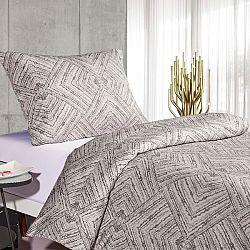BO-MA Trading Saténové obliečky Brissa Geometria, svetlosivá, 140 x 200 cm, 70 x 90 cm
