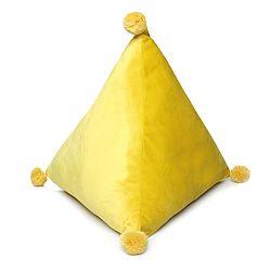 Domarex Vankúš pyramída Trevi Velvet žltá, 40 x 40 x 40 cm