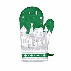 Forbyt Vianočná chňapka Zimná dedinka zelená, 18 x 28 cm