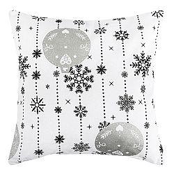 Forbyt Vianočná obliečka na vankúšik Vianočné ozdoby strieborná, 40 x 40 cm