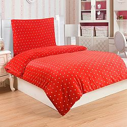 Jahu Obliečky mikroplyš Polka červená, 140 x 200 cm, 70 x 90 cm