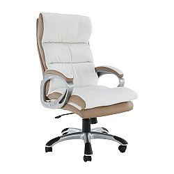 Kancelárske kreslo, biela/hnedá ekokoža, KOLO