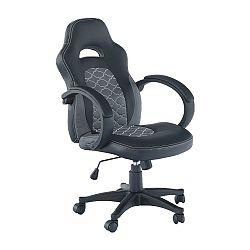 Kancelárske kreslo, ekokoža čierna/sivá, NELSON