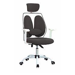 Kancelárske kreslo s opierkou hlavy, čierna/biela, BENNO UT-C568X