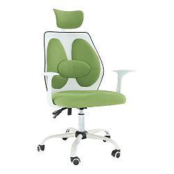 Kancelárske kreslo s opierkou hlavy, zelená/biela, BENNO UT-C568X