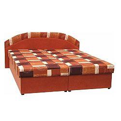 Manželská posteľ, molitanová, oranžová/vzor, KASVO