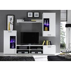 Obývacia stena vo farebnom prevedení biela, DTD fóliovaná,  FRONTAL 1