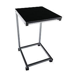 Príručný stolík, čierna/kov strieborná, MANNY