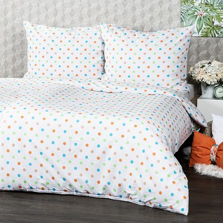 4Home Bavlnené obliečky Dots oranžová, 220 x 200 cm, 2 ks 70 x 90 cm