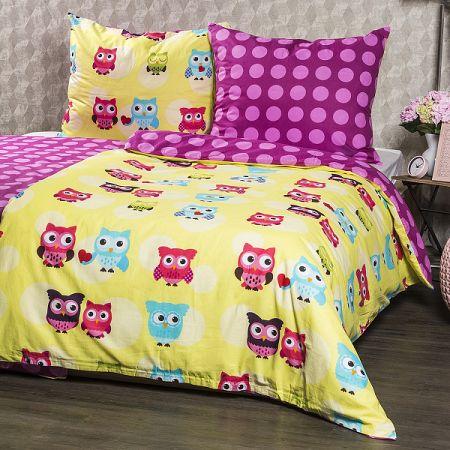 4Home Bavlnené obliečky Sovička, 140 x 200 cm, 70 x 90 cm, 140 x 200 cm, 70 x 90 cm