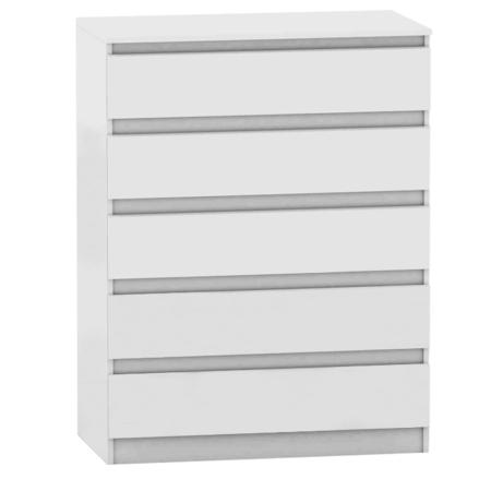 5 šuplíková komoda, biela, HANY 005