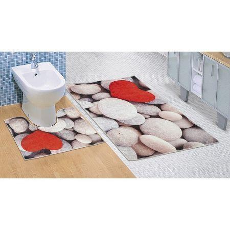 Bellatex Kúpeľňová predložka Svetlé kamene 3D, 60 x 100 + 60 x 50 cm
