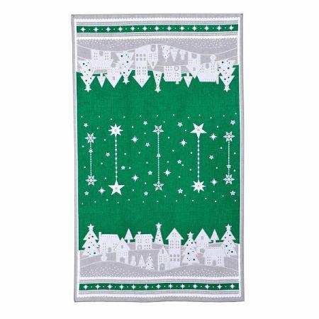 Forbyt Vianočná utierka Zimná dedinka zelená, 45 x 70 cm