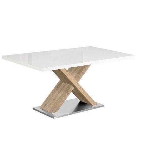 Jedálenský stôl, biela s vysokým leskom HG/dub sonoma, FARNEL