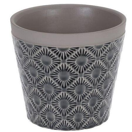 Keramický obal na kvetináč Gandia čierna, pr. 12,5 cm