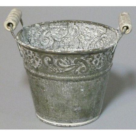 Plechový obal na kvetináč sivá, pr. 10 cm