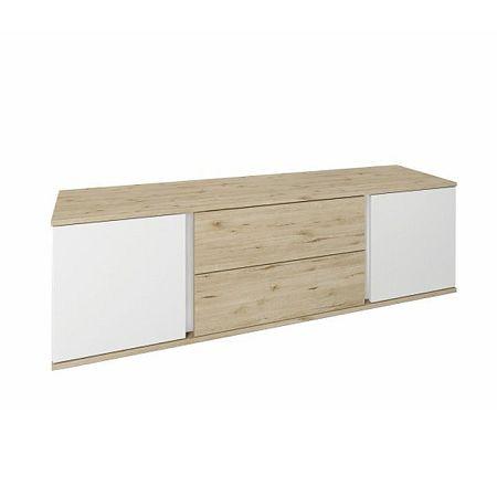 RTV stolík, dub wellington/biela, LEIRA 2D2S/150