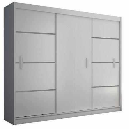 Skriňa s posúvacími dverami, biela/čierna, MERINA 250, poškodený tovar