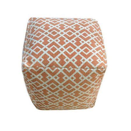 Taburet, bavlna, oranžová/vzor, NOVEL