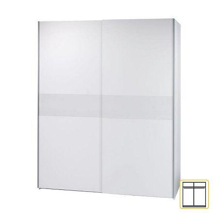 Vešiaková skriňa s posúvacími dverami, biela, VICTOR 2